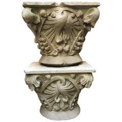 Pair of French Art Nouveau Limestone Capitals