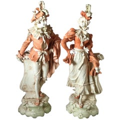 Pair of French Art Nouveau Porcelain Large Figural Vases
