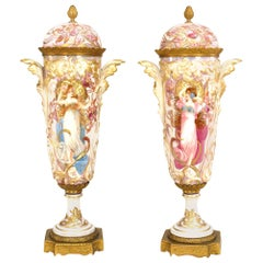 Pair of French Art Nouveau Sèvres Porcelain Vases