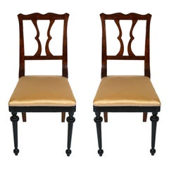 Pair of French Neoclassical Side Chairs in Walnut two-tone  Wax Polished