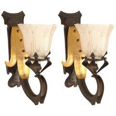 Pair of French Art Nouveau Copper Fleur de Lis Wall Sconces