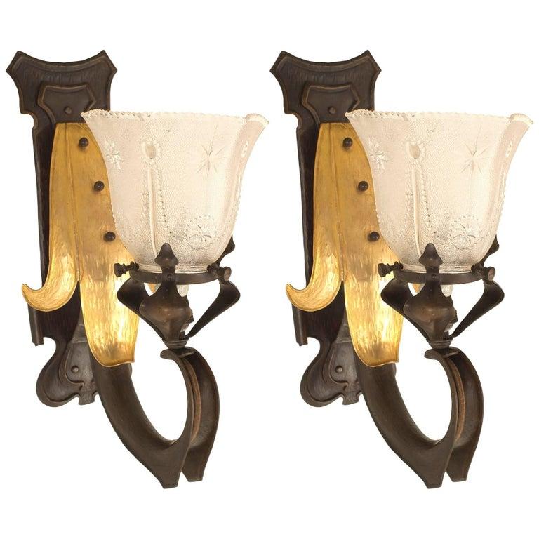 Pair of French Art Nouveau Single Arm Copper Wall Sconces For Sale