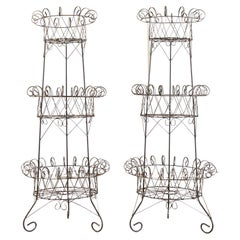 Pair of French Art Nouveau Style 3 Tier Wire Plant Stands