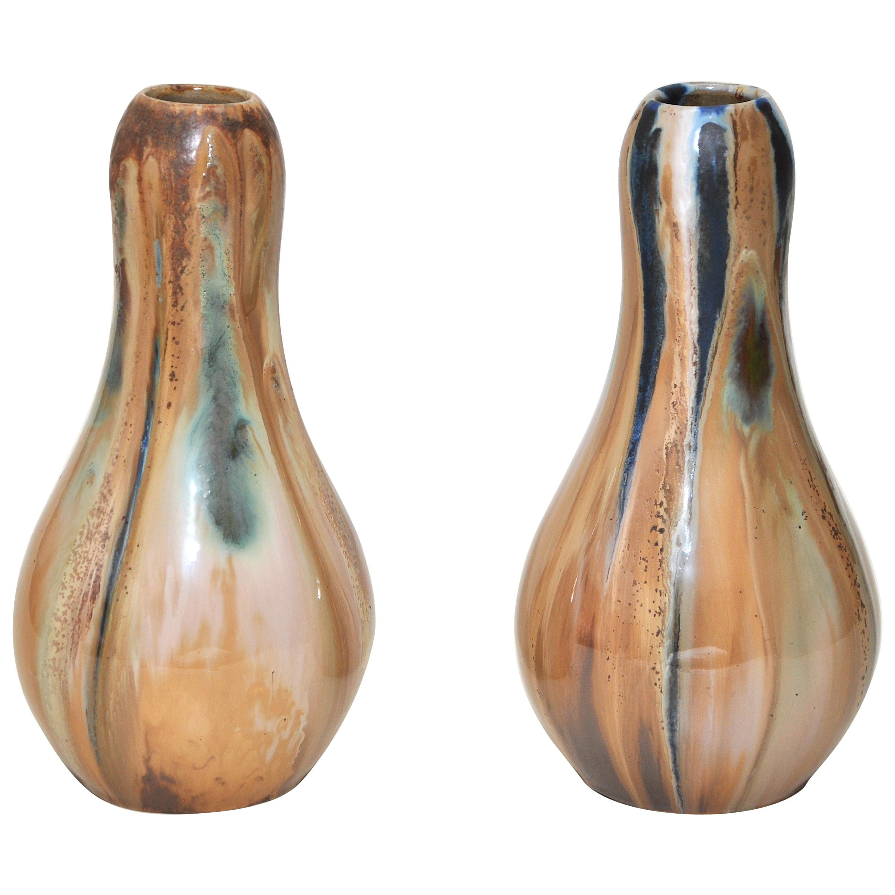 Pair of French Art Nouveau Vases by Alfonse Cytere Green Ochre Navy Blue