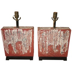 Pair of French Art Pottery Lamps