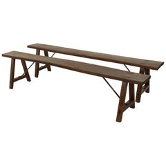 Pair of French Artisan Made Elm Farm Table Benches with Iron Supports