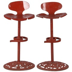 Pair of French Artisanal Red Iron Bar Stools, Mid-1900s