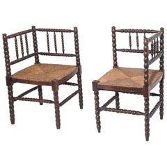 Pair of French Arts & Crafts Turned Oak Corner Chairs