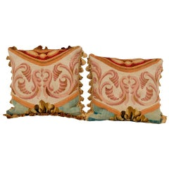 Pair of French Aubusson Antique Pillows 'Brown & Red & Gold'