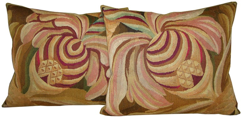 Pair of French Aubusson Tapestry Pillow, circa 1860 1708p 1709p  :  Y & B Bolour In Good Condition For Sale In Los Angeles, CA