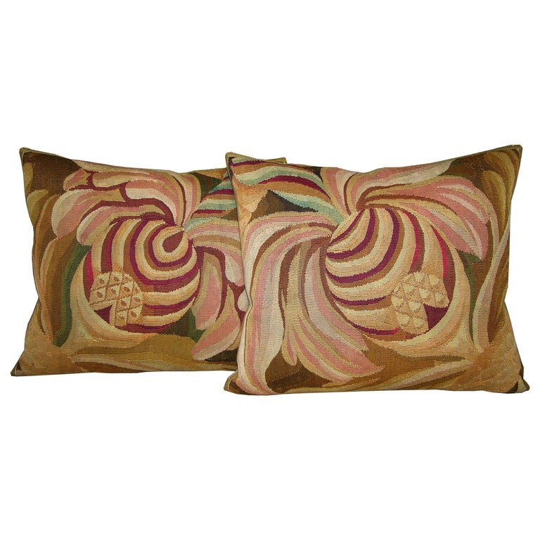 Pair of French Aubusson Tapestry Pillow, circa 1860 1708p 1709p  :  Y & B Bolour For Sale