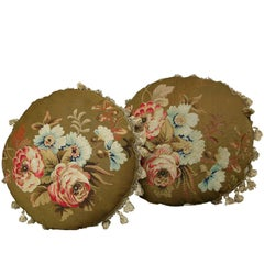 Pair of French Aubusson Tapestry Pillows, circa 1860 1347p 1348p