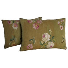 Pair of French Aubusson Tapestry Pillows, circa 1860, 1738p - 1739p