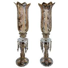 Pair of French Baccarat Crystal Hurricane Lanterns