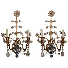 Pair of French Baguès Jansen Rock Crystal Gold Gilt Glass Two-Arm Sconces