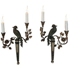 Pair of French Bagues Style Carved and Gilded Wood Parrot Sconces, circa 1920