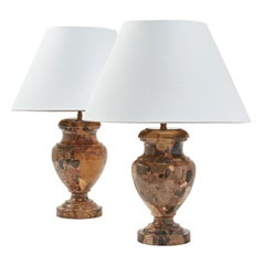 Pair of French Baluster Shaped Marble Lamps, circa 1900