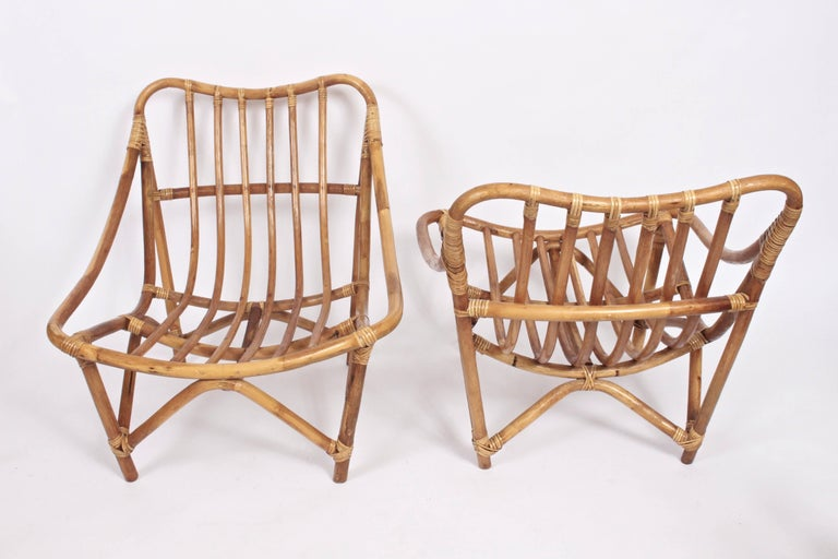 Hollywood Regency Pair of French Bamboo and Rattan Lounge Chairs, 1960's