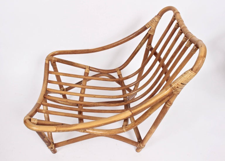 Mid-20th Century Pair of French Bamboo and Rattan Lounge Chairs, 1960's