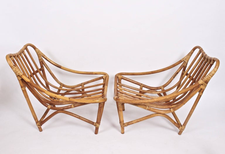 Pair of French Bamboo and Rattan Lounge Chairs, 1960's 1
