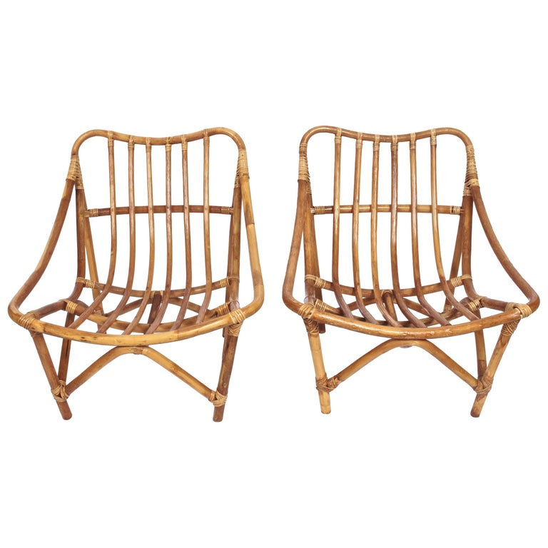 Pair of French Bamboo and Rattan Lounge Chairs, 1960's
