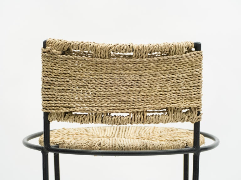 Pair of French Bar Stools Rope and Metal by Audoux Minet, 1950s For Sale 7