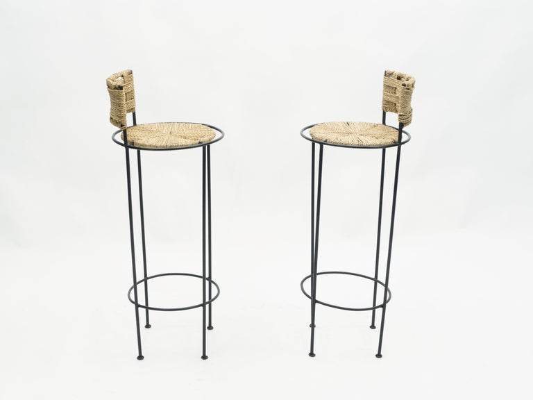 Mid-Century Modern Pair of French Bar Stools Rope and Metal by Audoux Minet, 1950s For Sale