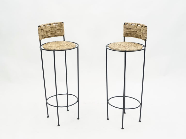 Pair of French Bar Stools Rope and Metal by Audoux Minet, 1950s In Good Condition For Sale In Paris, FR