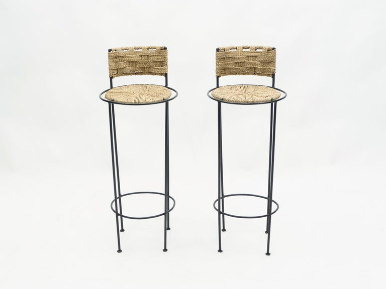 Mid-20th Century Pair of French Bar Stools Rope and Metal by Audoux Minet, 1950s For Sale