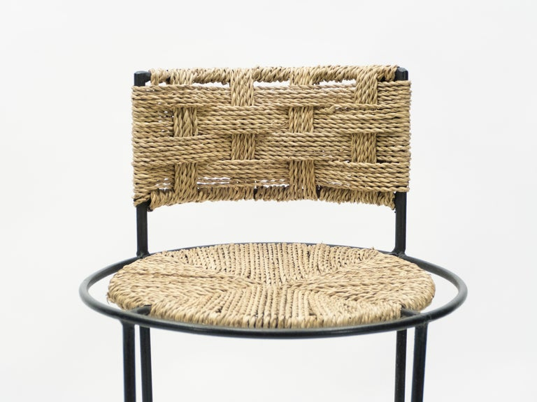 Pair of French Bar Stools Rope and Metal by Audoux Minet, 1950s For Sale 2