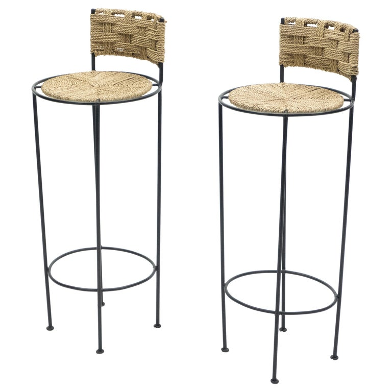 Pair of French Bar Stools Rope and Metal by Audoux Minet, 1950s For Sale