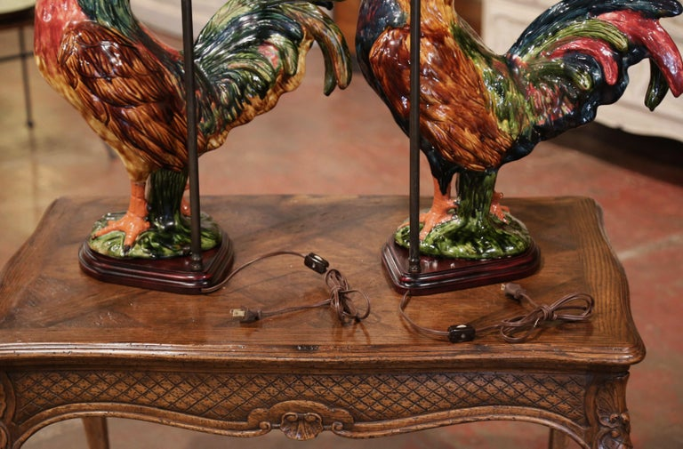 Pair of French Barbotine Ceramic Roosters Converted into Table Lamps For Sale 7
