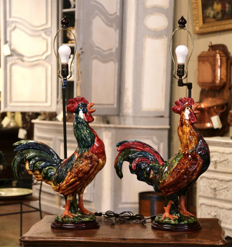 Country Pair of French Barbotine Ceramic Roosters Converted into Table Lamps For Sale