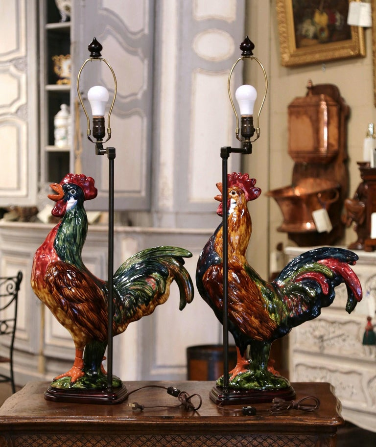 Hand-Painted Pair of French Barbotine Ceramic Roosters Converted into Table Lamps For Sale