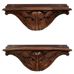 Pair of French Baroque 17th Century Wooden Wall Brackets with Carved Foliage