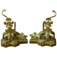 Pair of French Baroque Style French Dragon Andirons