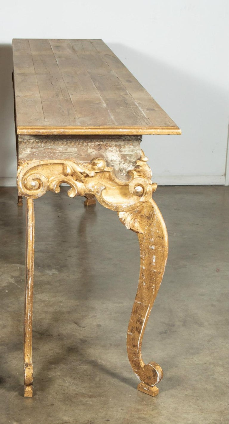 French Baroque Style Painted and Parcel Gilt Fragment Console Tables (pr. avail) For Sale 4