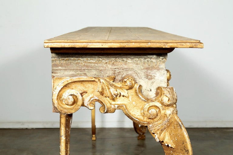 French Baroque Style Painted and Parcel Gilt Fragment Console Tables (pr. avail) For Sale 5