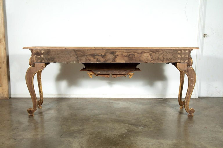 French Baroque Style Painted and Parcel Gilt Fragment Console Tables (pr. avail) For Sale 8