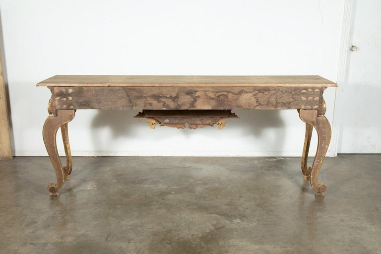 French Baroque Style Painted and Parcel Gilt Fragment Console Tables (pr. avail) For Sale 9