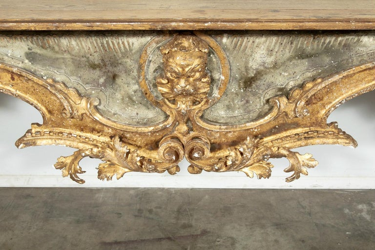 French Baroque Style Painted and Parcel Gilt Fragment Console Tables (pr. avail) In Good Condition For Sale In Birmingham, AL