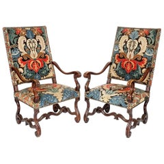 Pair of French Baroque Walnut Needlework Armchairs of the Late 17th Century
