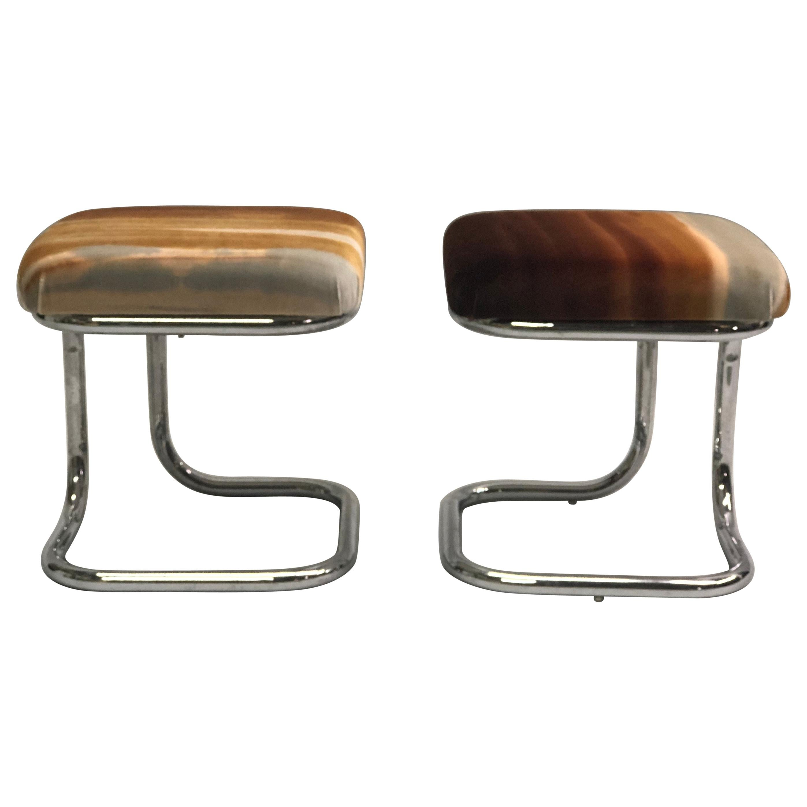 Pair of French Modernist 'Bauhaus' Stools with Upholstered Seats by Hermès