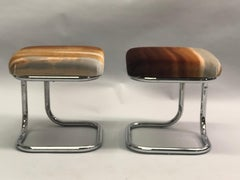 Pair of French Bauhaus Style Stools with Upholstered Seats by Hermes