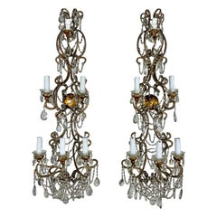 Pair of French Beaded 6-Light Sconces, C. 1940