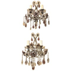 Pair of French Beaded and Crystal Amethyst 2 Light Sconces
