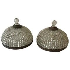 Pair of French Beaded Flush Mounted Shades