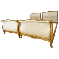 Pair of French Twin Beds to recover Singles Louis XV Scroll end circa 1920