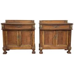 Pair of French Bedside Tables Nightstands with Crest and Bronze Details