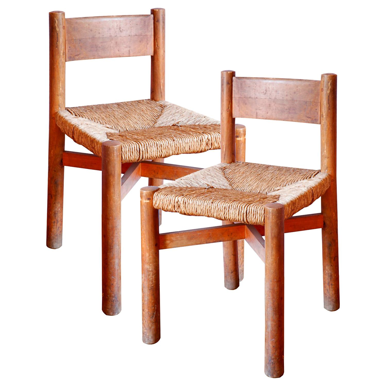 Pair of French Beechwood Side Chairs by Charlotte Perriand
